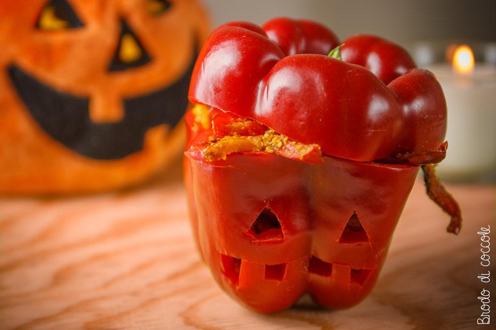 Jack 'o pepper, peperone intagliato per Halloween