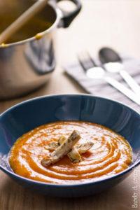 Crema di zucca al rosmarino con pollo