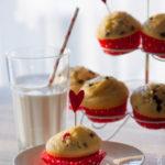 Muffin al cocco con mirtilli rossi al doppio cioccolato