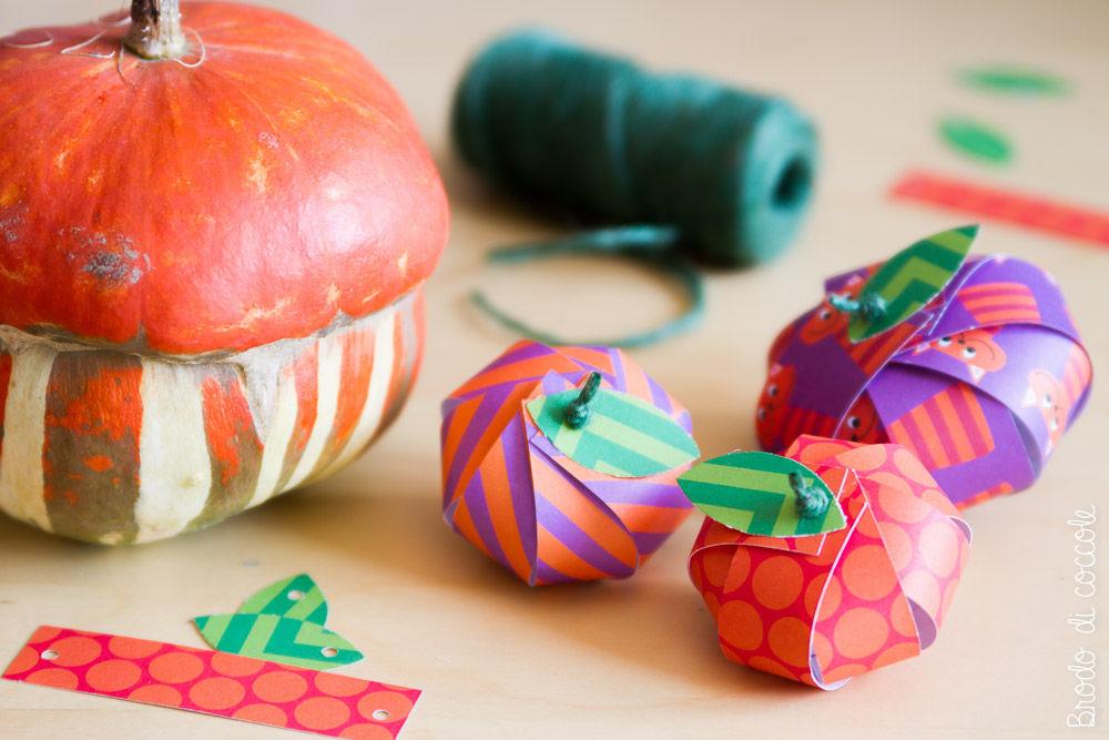 Zucche di carta segnaposto per Halloween