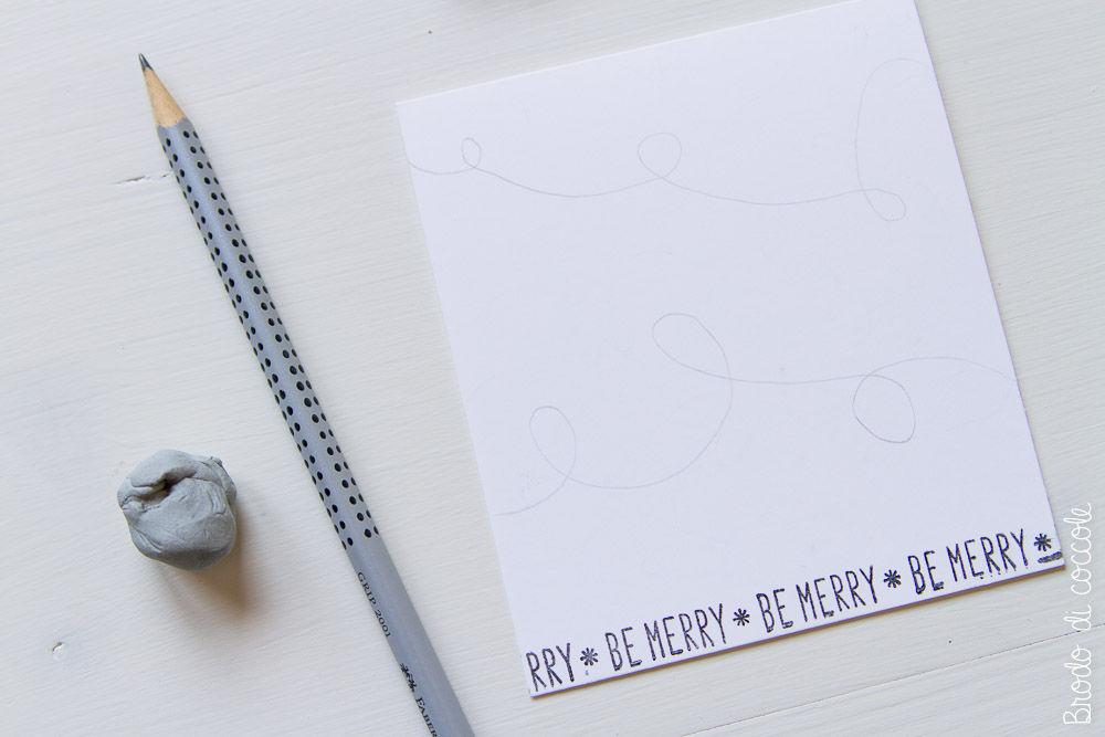 Tutorial biglietti di Natale - Disegna il filo per le lucine