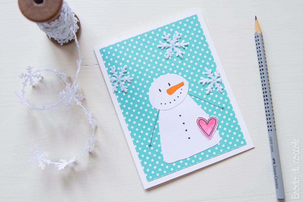 Tutorial biglietti di Natale - Biglietto con pupazzo di neve