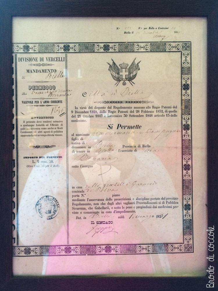 Menabrea - Storica licenza di vendita