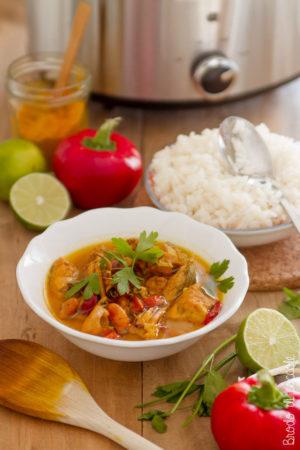 Curry di pesce cotto a bassa temperatura con la Crock-pot